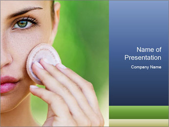 Woman Applying Face Powder PowerPoint Template - Slide 1