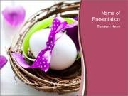 Basket With Easter Egg PowerPoint Template