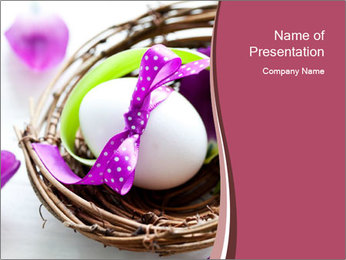 Basket With Easter Egg PowerPoint Template - Slide 1