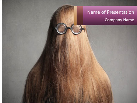Glasses In Woman's Hair PowerPoint Template