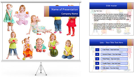 Girl with fruit PowerPoint Template