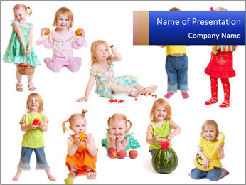 Girl with fruit PowerPoint Template - Slide 1