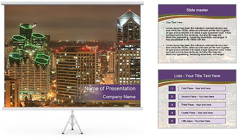 Scenic Night City PowerPoint Template