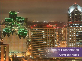 Scenic Night City PowerPoint Templates - Slide 1