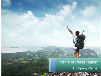 Freedom on top of the mountain PowerPoint Template - Slide 1
