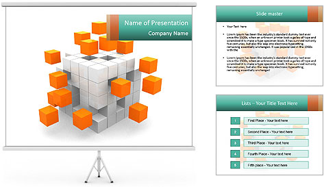 Disassembled box PowerPoint Template