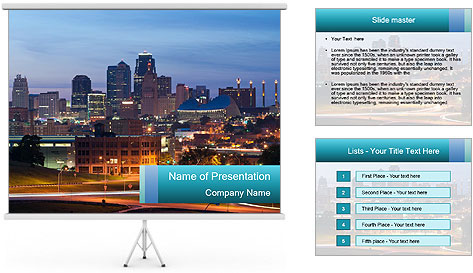 Evening city PowerPoint Template