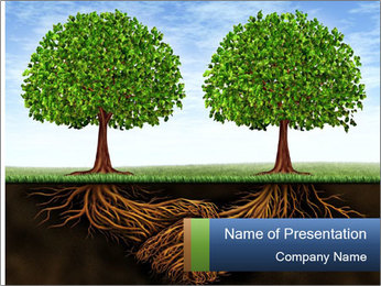 Two trees PowerPoint Template - Slide 1