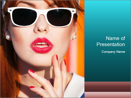 Beautiful girl in sunglasses PowerPoint Templates