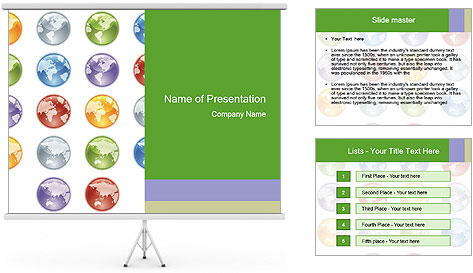 Planet in different colors PowerPoint Template