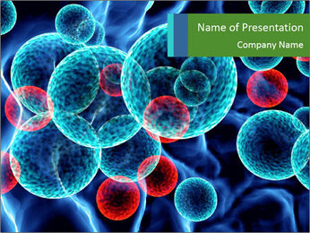 Blue and red bacterium PowerPoint Template