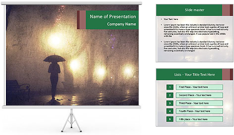 Night alley PowerPoint Template