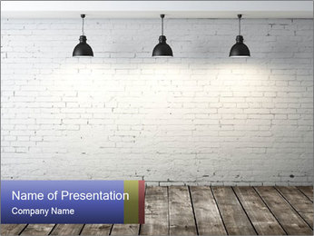 White brick room with ceiling lamp PowerPoint Template