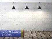 White brick room with ceiling lamp PowerPoint Templates