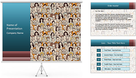 Large crowd of people PowerPoint Template