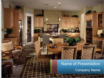 The interior of the dining room PowerPoint Template - Slide 1