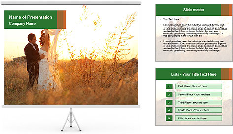Newlyweds in the field PowerPoint Template