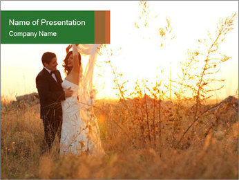Newlyweds in the field PowerPoint Template - Slide 1