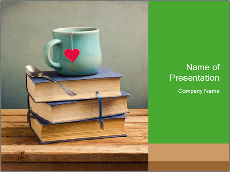 The cup is on the books PowerPoint Template