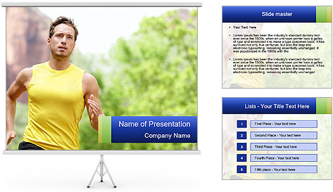 The guy runs PowerPoint Template