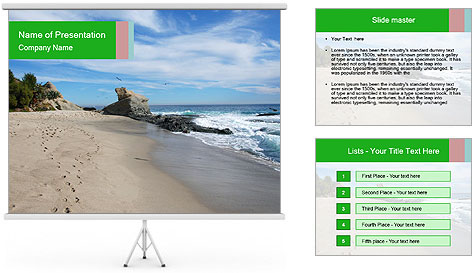 Ocean beach PowerPoint Template