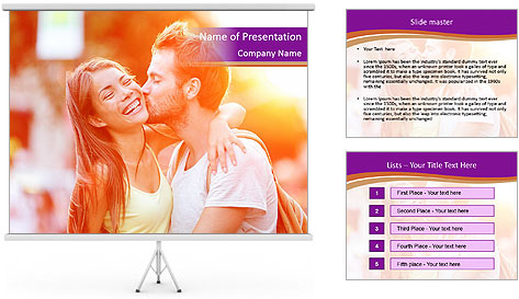 Couple in love in the street PowerPoint Template
