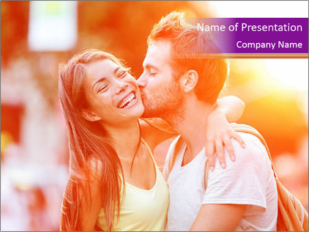 Couple in love in the street PowerPoint Templates