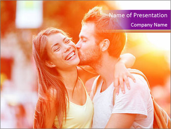 Couple in love in the street PowerPoint Template - Slide 1