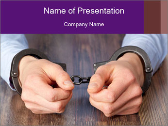 Hands in handcuffs PowerPoint Template - Slide 1