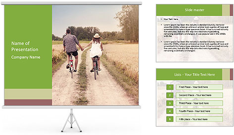 Couple Cycling In Countryside PowerPoint Template