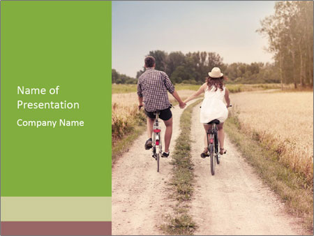 Couple Cycling In Countryside PowerPoint Templates