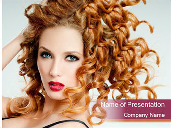 Woman With Red Curly Hair PowerPoint Templates - Slide 1
