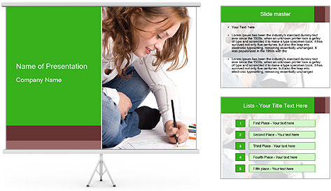 Young Woman Studying PowerPoint Template