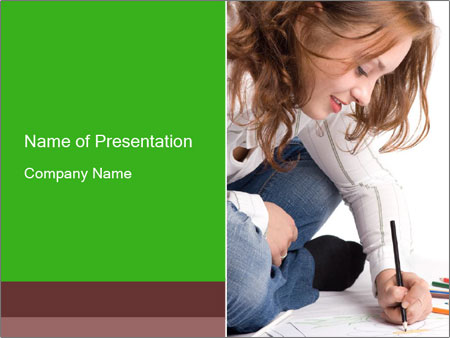 Young Woman Studying PowerPoint Templates