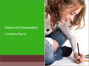 Young Woman Studying PowerPoint Templates - Slide 1