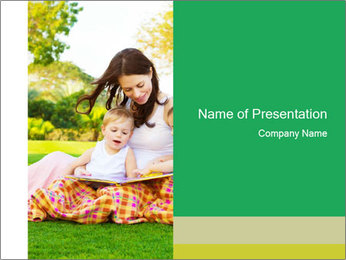 Mama And Baby At Backyard PowerPoint Template - Slide 1
