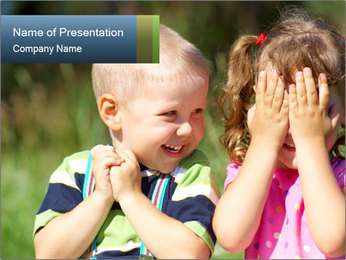 Happy Brother And Sister PowerPoint Template - Slide 1