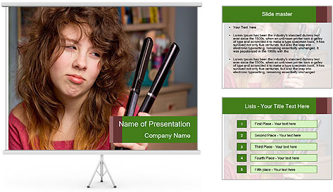 Stressed Woman With Hair Straightening PowerPoint Template