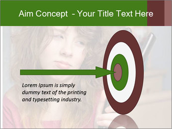 Stressed Woman With Hair Straightening PowerPoint Template - Slide 83