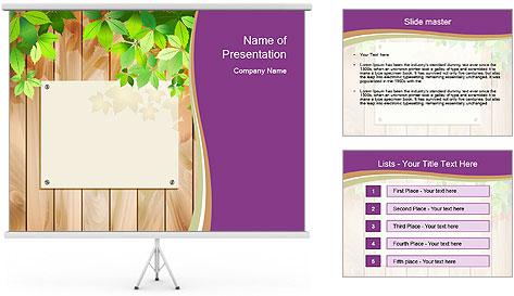 Cute Card On Wooden Board PowerPoint Template