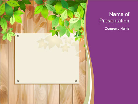 Cute Card On Wooden Board PowerPoint Templates