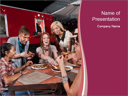 Friends At Restaurant PowerPoint Template