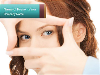 Woman Showing Camera With Fingers PowerPoint Template