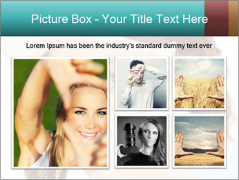 Woman Showing Camera With Fingers PowerPoint Templates - Slide 19