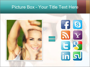 Woman Showing Camera With Fingers PowerPoint Templates - Slide 21