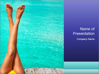 Tanned Female Legs PowerPoint Template - Slide 1