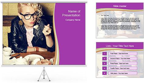 Woman Eats Dessert PowerPoint Template