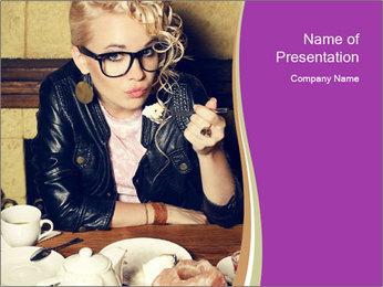Woman Eats Dessert PowerPoint Template - Slide 1