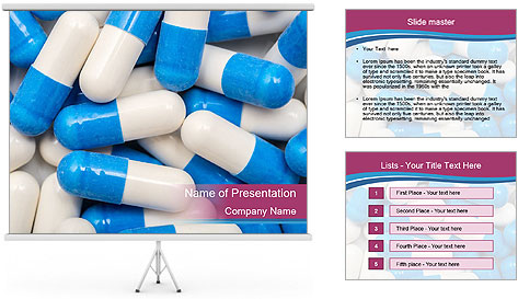 White And Blue Pills PowerPoint Template