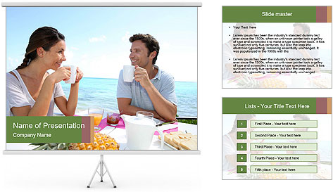 Just Married Couple Drinking Coffee PowerPoint Template